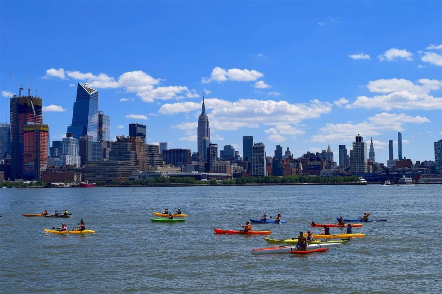Kayaks on New York's Hudson River