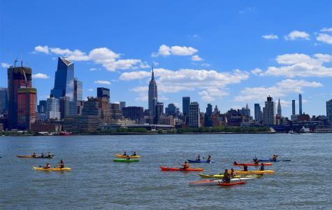 Kayaks on New York's Hudson River