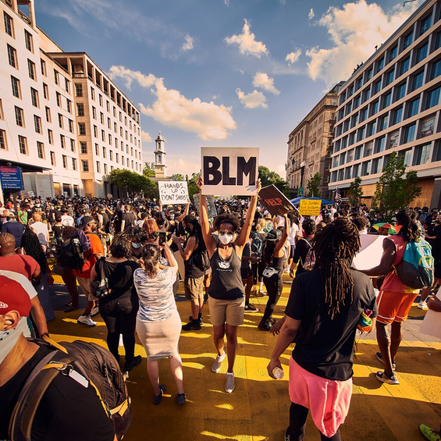 The Black Lives Matter movement and COVID-19 have converged to create a perfect storm of pain for people all over the world in 2020. Pictured is a Black Lives Matter protest in Washington DC (CC BY-NC-ND 2.0).
