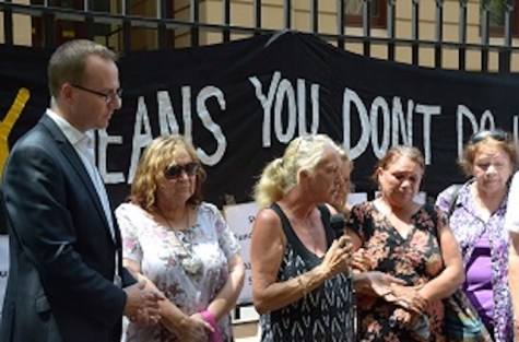 Aunty Hazel Collins and Grandmothers Against Removals at a 2014 protest with Greens Leader David Shoebridge.  Image supplied: David Shoebridge