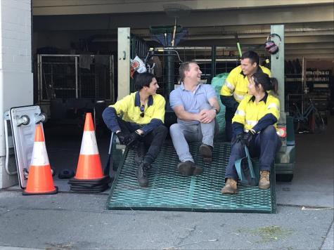 Pat Ryan telling a dad joke to ReNew recruits. Photo: Elena Morabito.