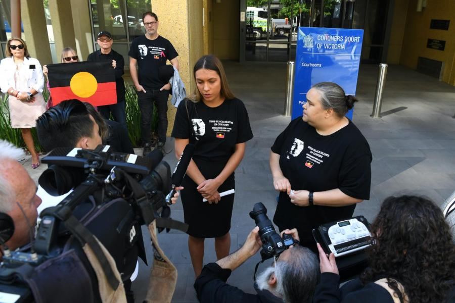 Tanya Day's daughters Apryl Day (centre) and Belinda Day (right) address the media outside the Coroners Court of Victoria, in Melbourne, Monday, November 11, 2019. Apryl Day said she believed access to a sobering-up facility