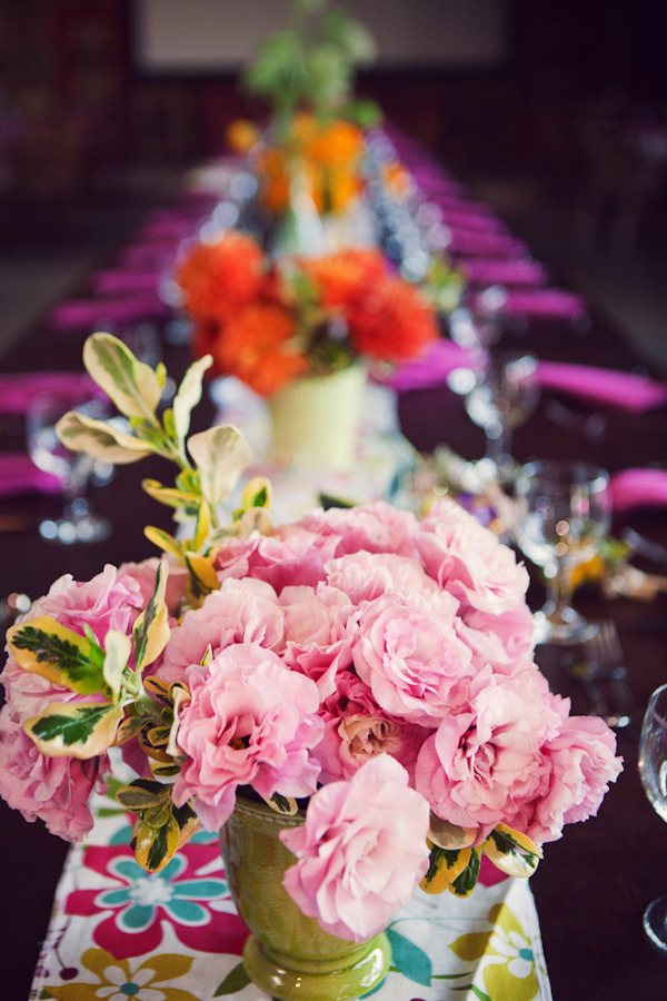 Long Table Setting With Pink Floral Centerpiece Vintage
