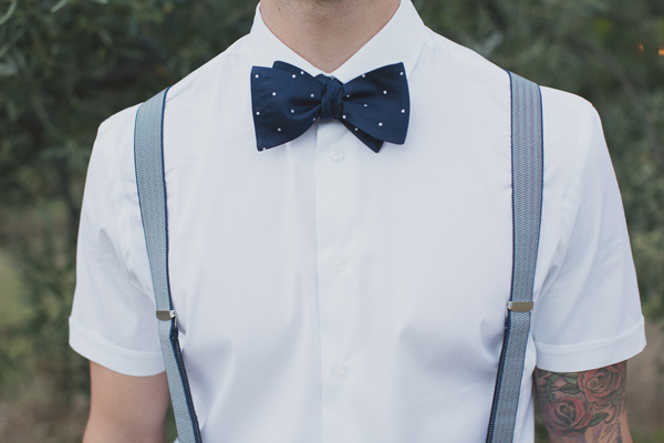 Groom Wearing White Button Up Short Sleeve Short With Blue