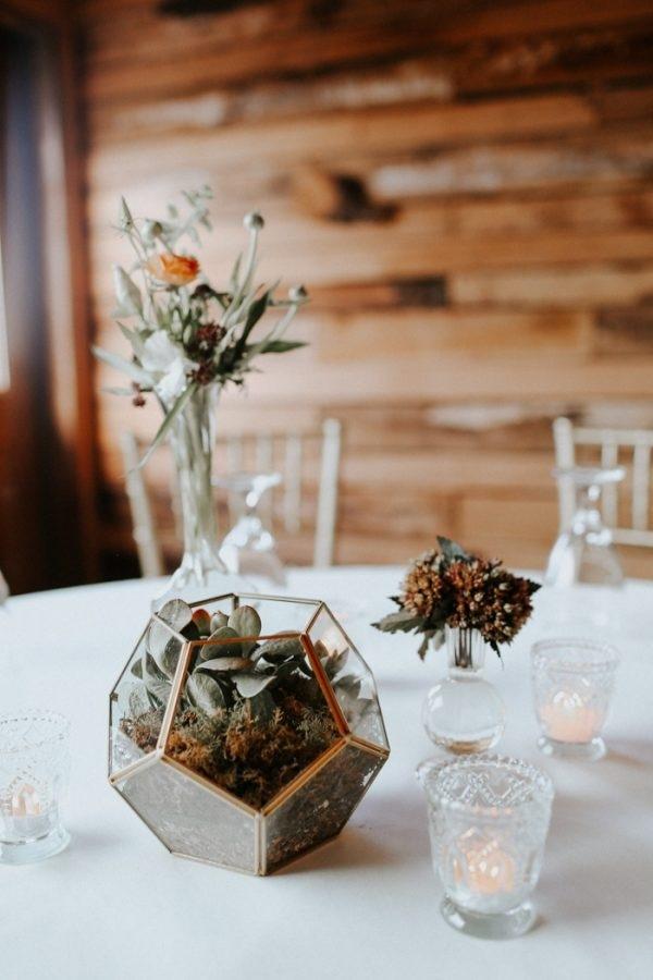 Modern Fall Wedding Reception Table Decor Terrarium And