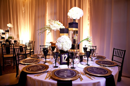 White And Gold Wedding Reception Reference