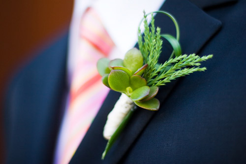 green succulent groom's wedding boutonniere - photo by Stephanie Cristalli Photography
