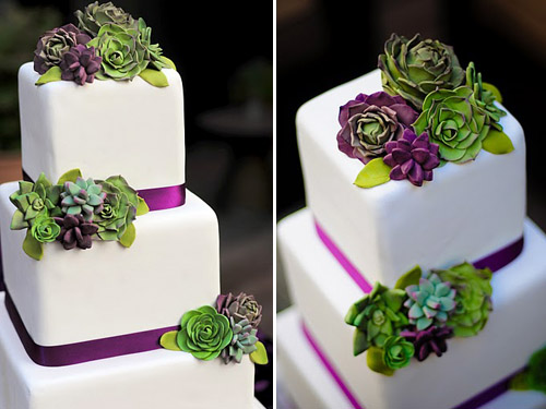 Succulent Wedding Cake Design by Erica O Brien   Junebug Weddings