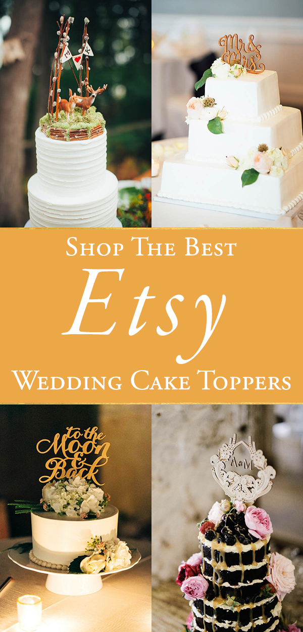 The Best Etsy Wedding Cake Toppers   Junebug Weddings