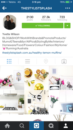 Yvette posts some beautiful pictures: of her own perfectly executed home, of what inspires her, and occasionally if you're lucky, lemon muffins. http://thestylistsplash.com.au