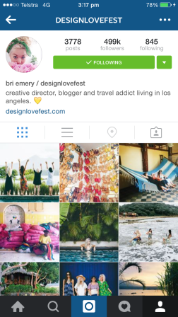 Bri is an art director and the Los Angeles-based founder and editor of her lovely blog 'designlovefest'. Her Insta feed has a beautiful indie style, and features a whole heap of DIY, food, travel, entertaining posts. http://www.designlovefest.com