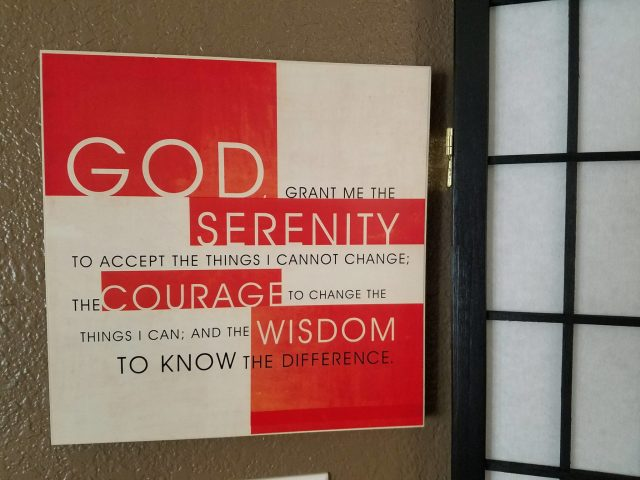 Serenity Prayer Picture from the Christian Bookstore hanging in my living room