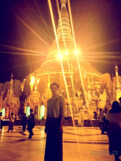2013 2 22 Jung II-woo at the Temples of the Shwedagon Pagoda Complex in Yangon, Myanmar