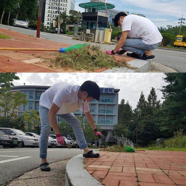 Jung Il-woo cleaning at the Seocho Senior Center. 1