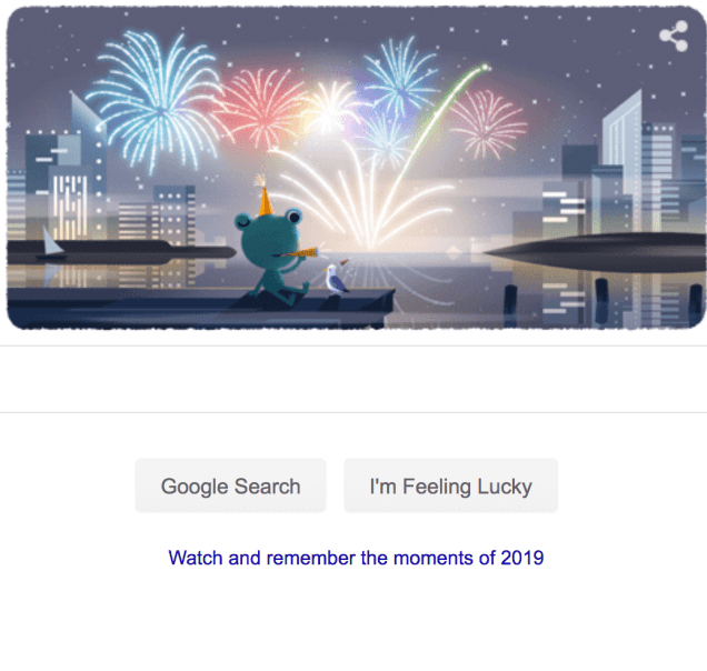 2019 12 31 Google Doodle for New year's Eve 2019.png