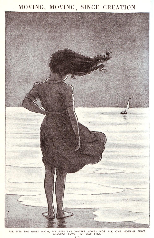 illustration of girl standing on shore