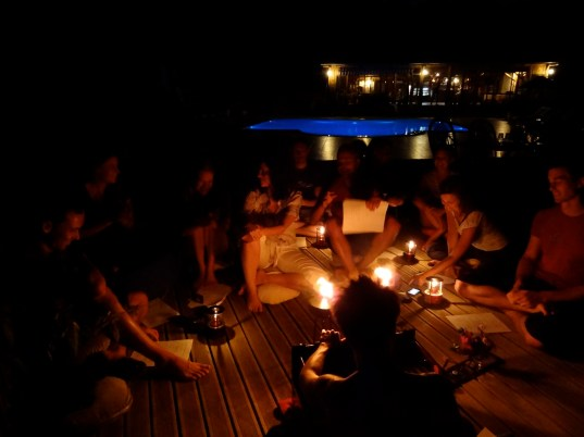 We had a cozy outdoor kirtan under the stars by the pool on our last evening.