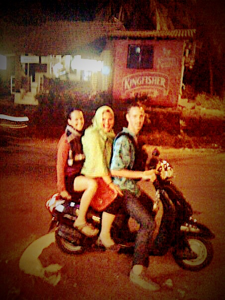 My buds Joey & Emily & our Indian scooter are heading out to dinner family style in Goa, 2010.