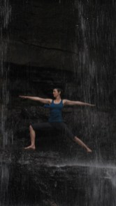 Virabhadrasana B under the waterfall. Photo by Don