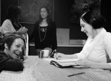 Spending some nice time chatting with Sharon Gannon during her book signing following the workshop... :) Photo by Jaimie Epstein