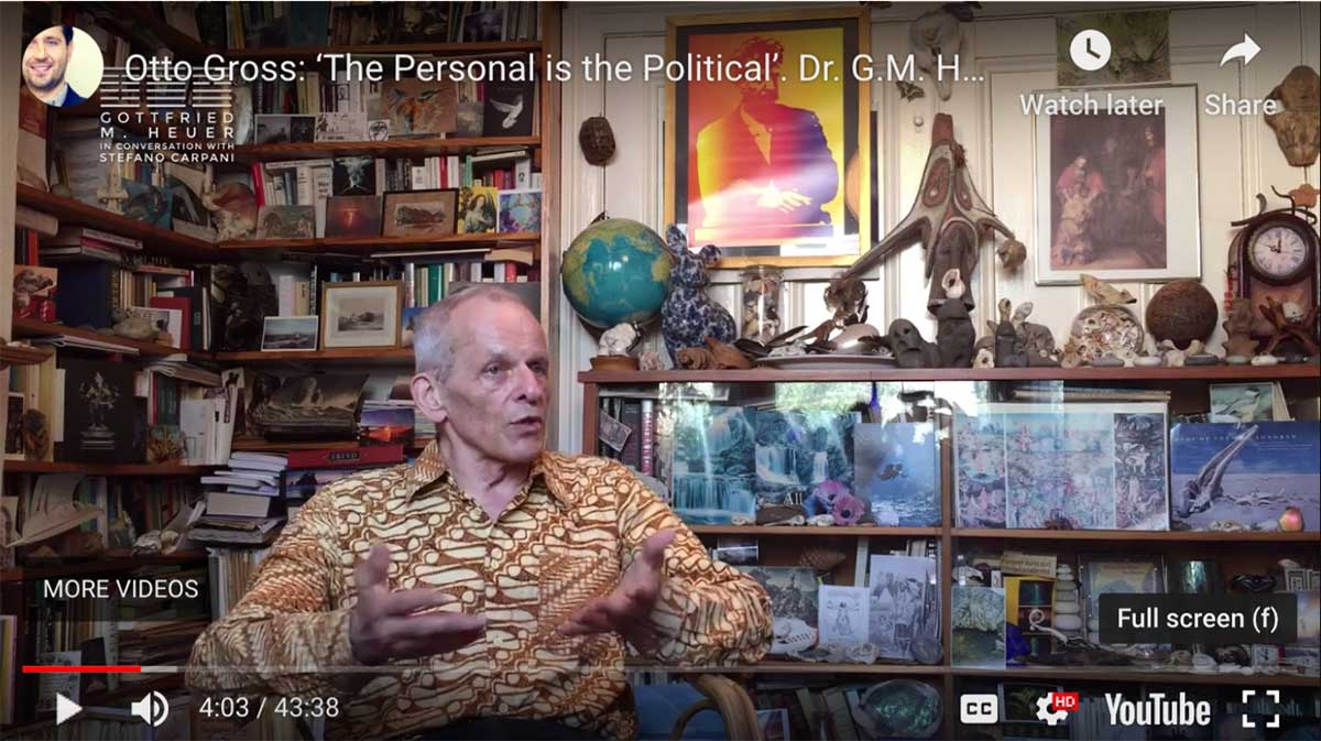Dr. Gottfried M. Heuer and I met in London in Early July 2018 to talk about Otto Gross