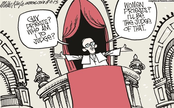 pope on women priests courtesy of caglecartoons.com