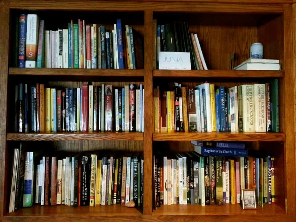 The Junia Project bookshelf in Gail's office