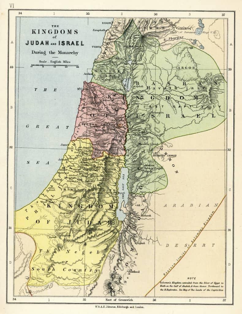 Mapa bíblico de la vendimia del 1879 que muestra los reinos de Judá e Israel durante la Monarquía