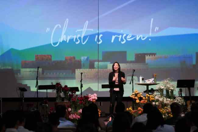 Women in Leadership Janette preaching on Easter Sunday