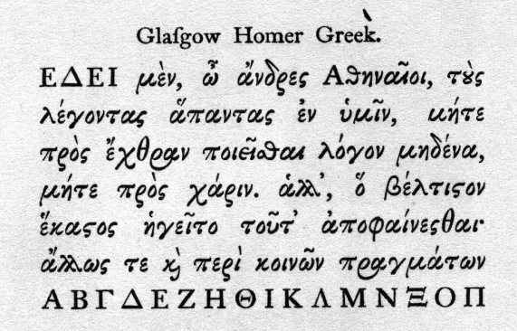 Specimen of Wilson's Greek Type
