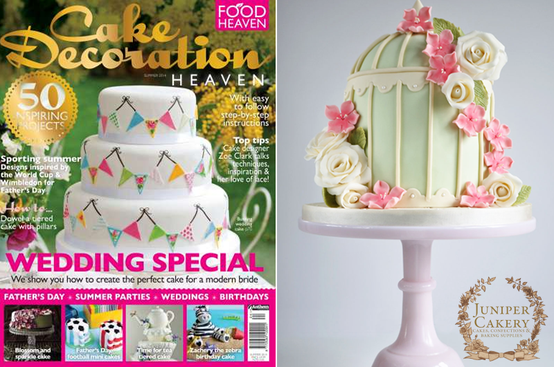 Here's our floral birdcage cake in Cake Decoration Heaven magazine - Juniper Cakery