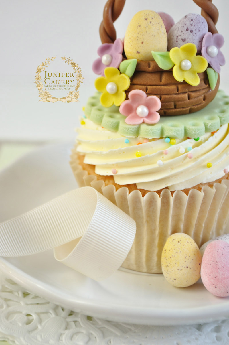 Lovely Easter basket cupcake tutorial by Juniper Cakery