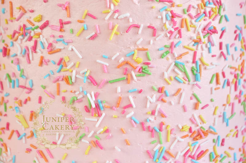 Rainbow sprinkles on a pink buttercream cake by Juniper Cakery