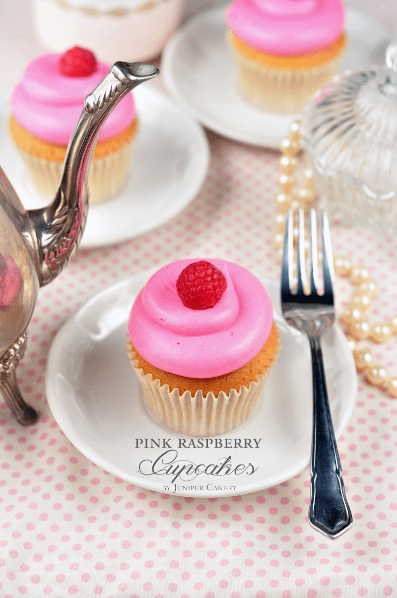 Pink raspberry cupcakes by Juniper Cakery