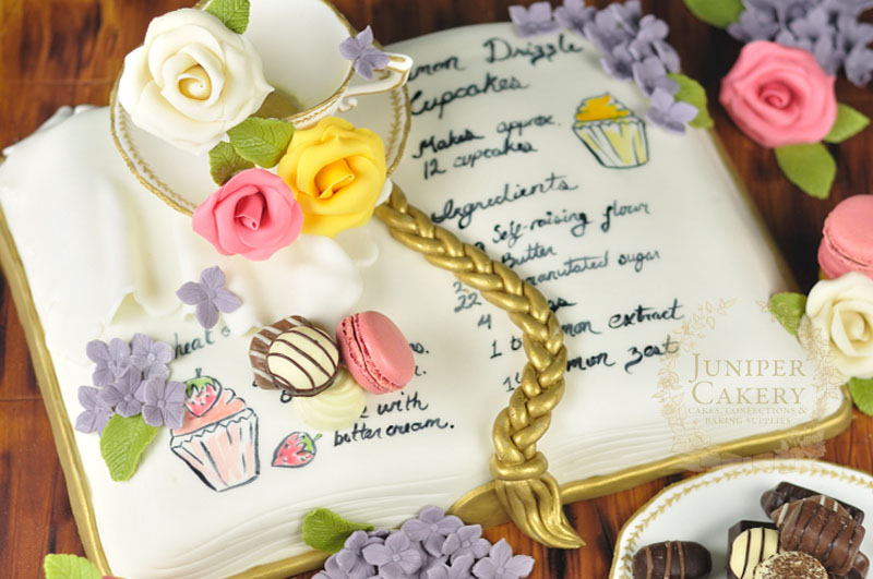 Sweet recipe book birthday cake by Juniper Cakery