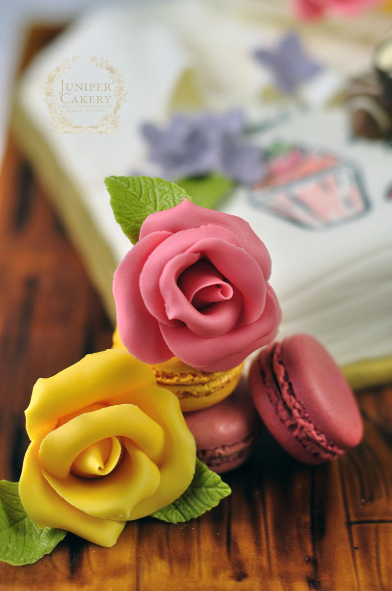 Sugar gum paste roses and macarons by Juniper Cakery