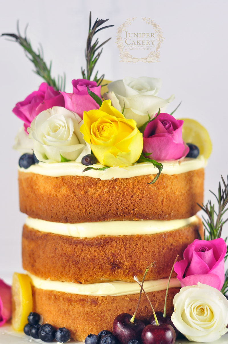 Gorgeous rose decorated naked cake by Juniper Cakery