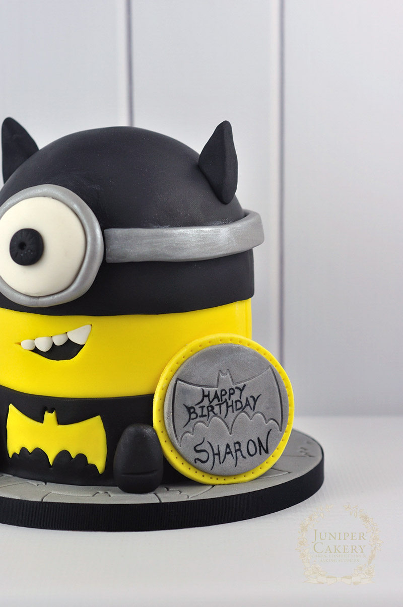 Minion in Batman Costume Cake by Juniper Cakery