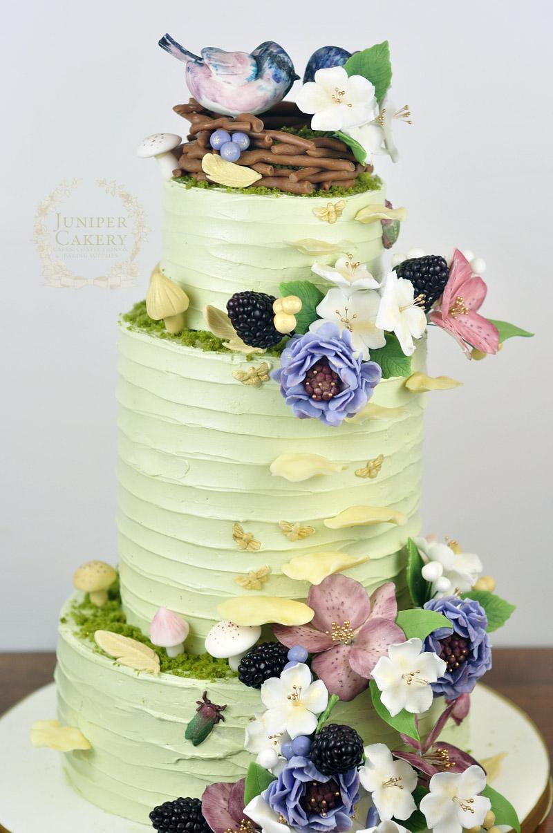 Lovely woodland wedding cake by Juniper Cakery