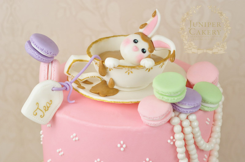 Afternoon tea rabbit themed cake by Juniper Cakery
