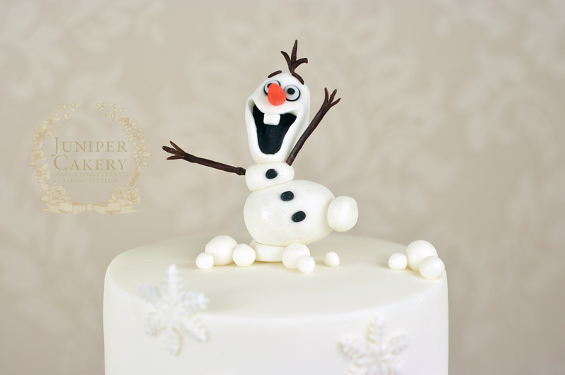Hand made gum paste Olaf from Frozen cake topper by Juniper Cakery
