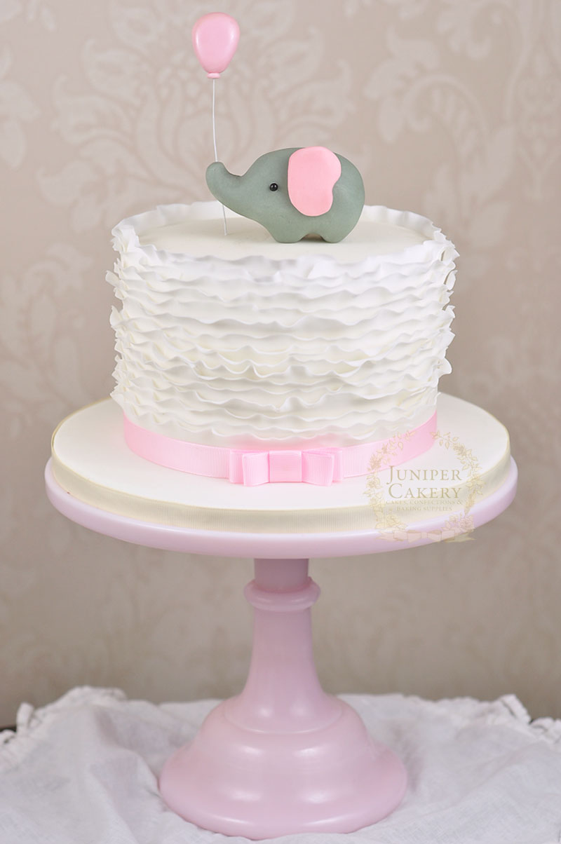 White Pink And Hold First Birthday Cake