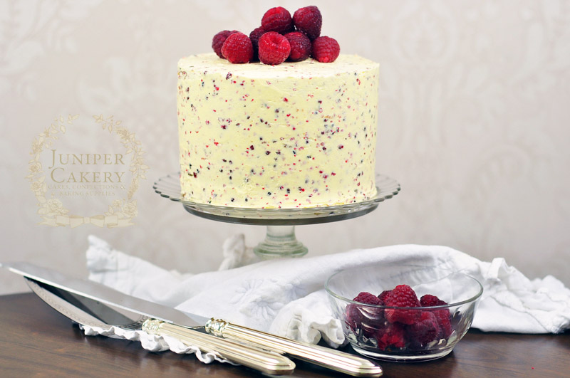 Recipe for a Raspberry, White Chocolate and Pink Peppercorn cake by Juniper Cakery