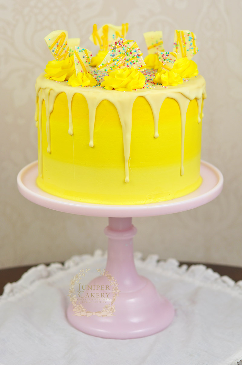 Lemon ombré bakery style cake by Juniper Cakery