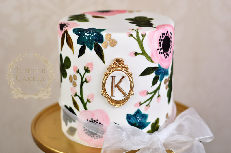 Small hand-painted anemone wedding cake by Juniper Cakery