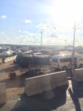 Our view out the bus window at the Zambia border.