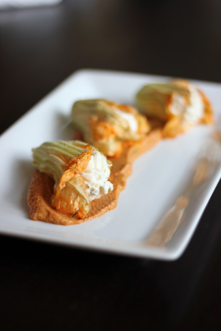 Squash Blossoms with Romesco Sauce