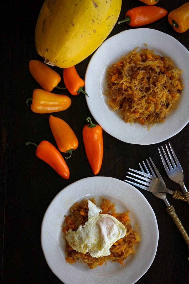 Spaghetti Squash Hash with Eggs