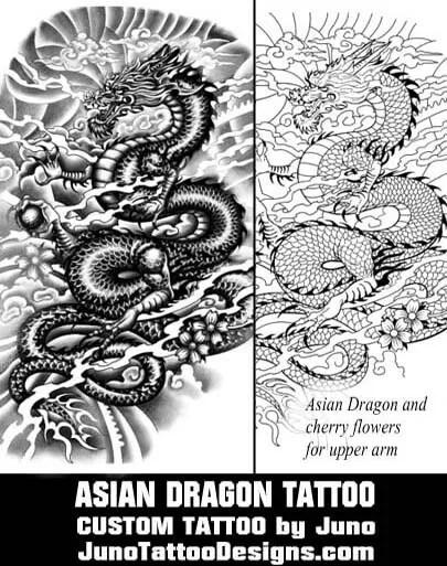 asian dragon tattoo, tattoo template, juno tattoo designs