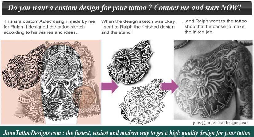 aztec tattoo, chest shoulder tattoo, aztec warrior tattoo, tattoo ink, tattoo remplate, custom tattoo, juno tattoo designs.com